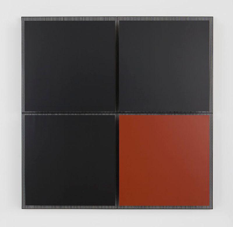 """""""Untitled (Grand carré brique)"""", 1979, paint on wood and metal, unique"""