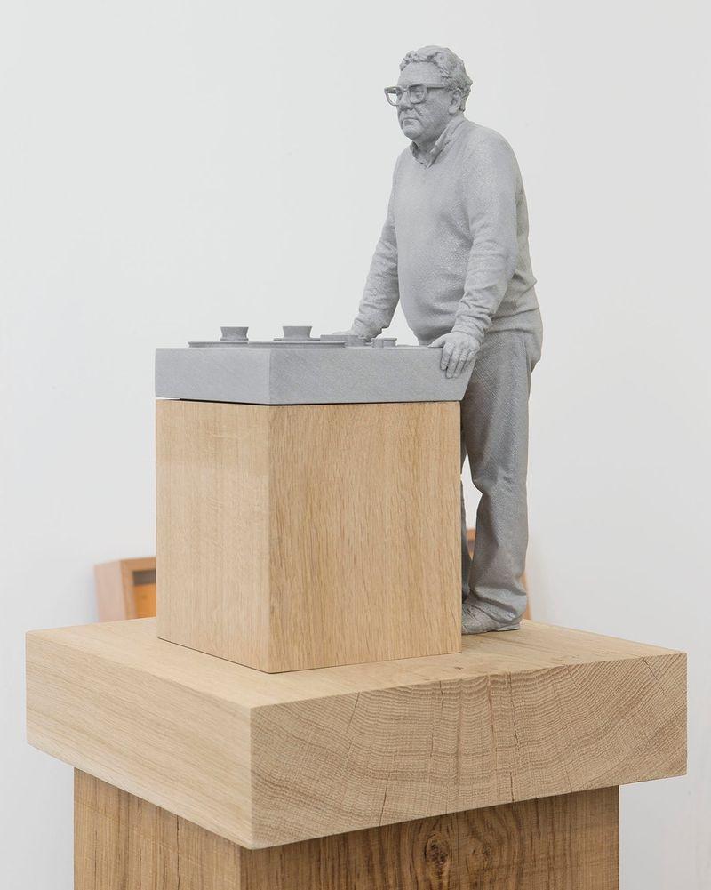 """Trevor Horn"" 2015 / Alumide, oak / Alumide, chêne / 71 7/8 x 12 3/8 x 12 3/8 inches / 182,5 x 31,5 x 31,5 cm / Unique"