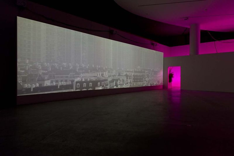 """View of the exhibition """" Jesper Just - APPEARING / INTERCOURSES """" at ARoS, Aarhus (Denmark), 2014""""Intercourses"""" 2013 / 2K, Five channel video installation black and white / 10'00"""", loop"""