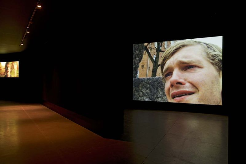 """View of the exhibition """" Jesper Just - APPEARING / INTERCOURSES """" at ARoS, Aarhus (Denmark), 2014""""No Man is an Island"""", 2002 / Dvcam / 4'00"""