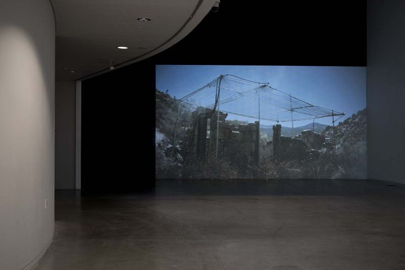 """View of the exhibition """" Jesper Just - APPEARING / INTERCOURSES """" at ARoS, Aarhus (Denmark), 2014""""Llano"""", 2012 / Single channel blu-ray video / 07'17"""""""