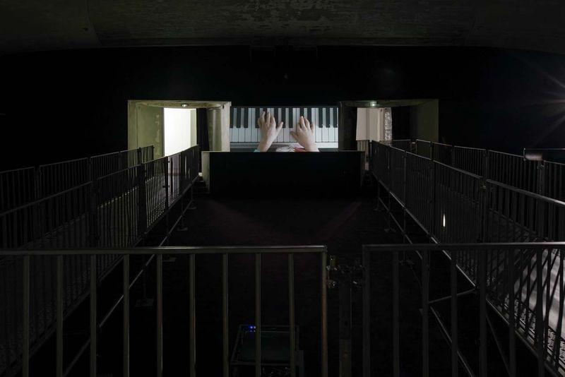 "Exhibition view of Jesper Just ""Servitudes"", Palais de Tokyo (24.06 – 13.09 2015). Courtesy of the artist, Galerie Perrotin (Paris, New York, Hong Kong) & Anna Lena Films. Photo : Aurélien Mole."