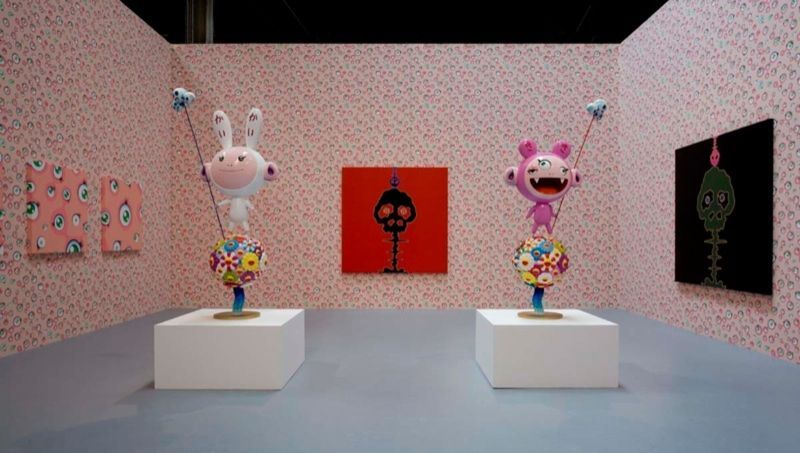 """Kaikai Kiki"",2005 / Inox, synthetic resins, fiberglass, paint / 190 x 96 x 46 cm (chaque) + socle 60 x 60 x 60 cm (chaque) / 6.2 feet x 3.1 x 1.6 feet (each) + pedestal 19 3/4 x 39 1/2 x 39 1/2 inches (each)"