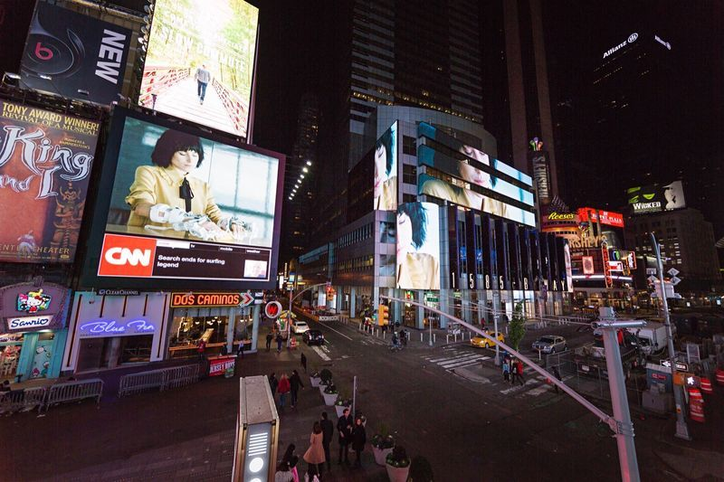 "View of the installation ""Midnight Moment"" Times Square at Times Square, New York (U.S.A.), 2015""Servitudes - Film 4"", 2015 / 2K video / Duration : 00:09:00"