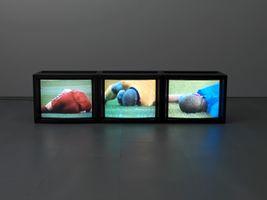 Caryatid (Red, Yellow, Blue)   Paul PFEIFFER
