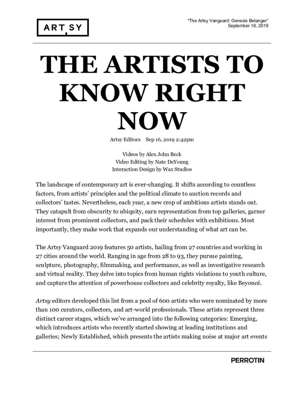 Artsy | Genesis BELANGER