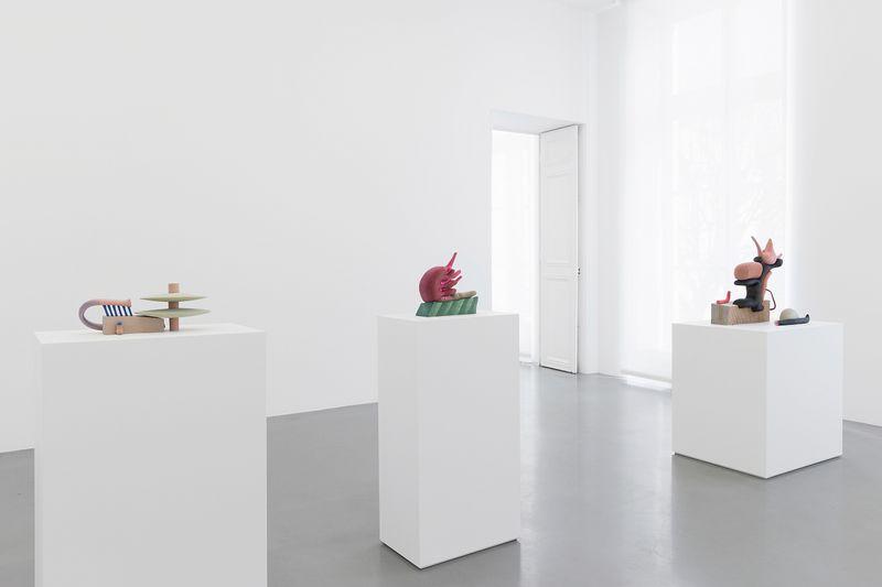 "Installation view: Matthew Ronay, ""Ramus,"" Perrotin, Paris, 2018"
