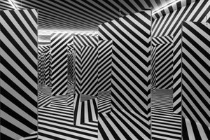 """Vue de l'exposition de groupe """"The Other Trans-Atlantic. Kinetic and Op Art in Eastern Europe and Latin America 1950s - 1970s"""" à GARAGE MUSEUM OF CONTEMPORARY ART  Moscow (Russia), 2018   Julio LE PARC"""