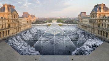 """展覽現場圖 """"JR at the Louvre"""" 于 Musée du Louvre  Paris (France), 2019   JR"""