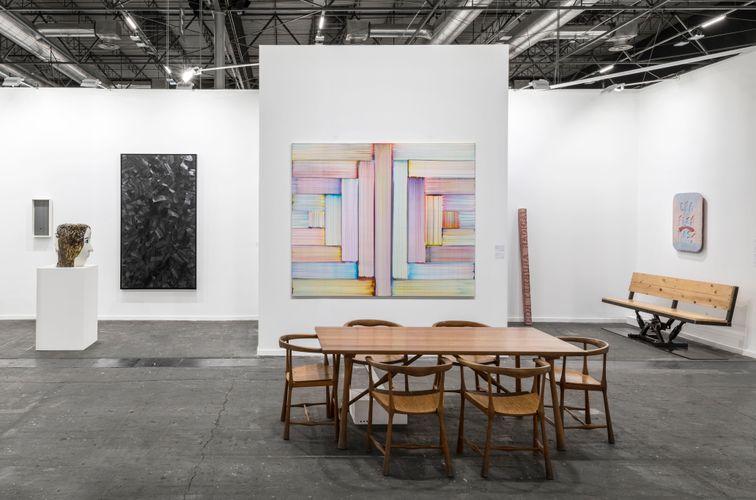 Works by Jesús Rafael Soto, Klara Kristalova, Lee Bae, Bernard Frize, and Iván Argote (Photo: Roberto Ruiz)