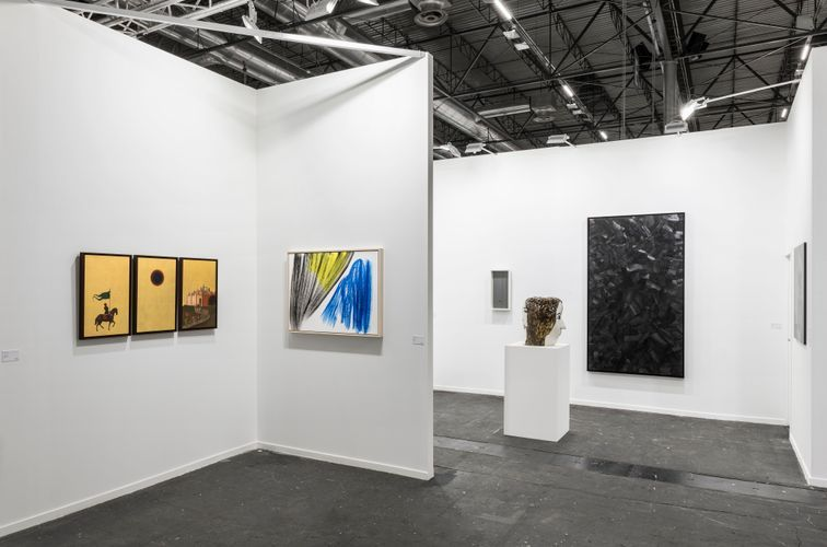 Works by Laurent Grasso, Hans Hartung, Jesús Rafael Soto, Klara Kristalova, and Lee Bae (Photo: Roberto Ruiz)