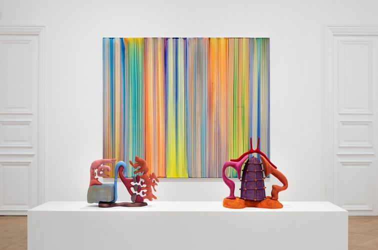 Works by Bernard Frize and Matthew Ronay (Photo: Tanguy Beurdeley)
