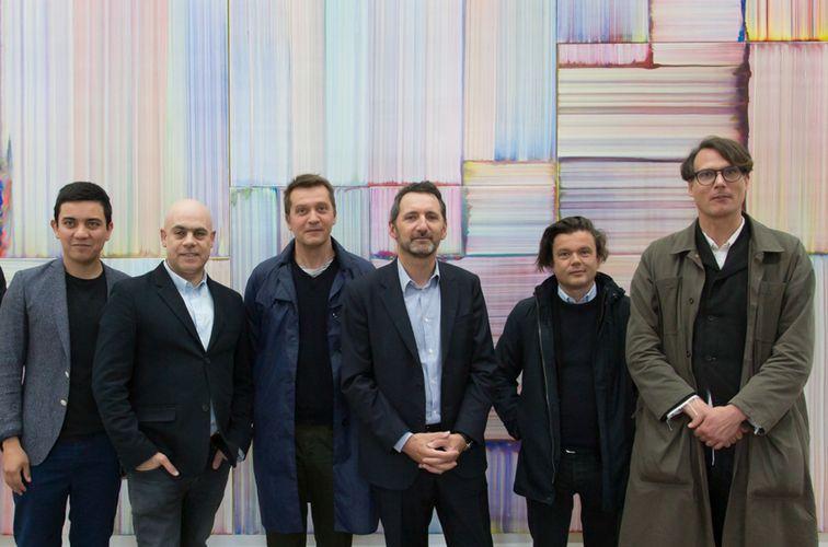 Iván Argote, Laurent Grasso, Lionel Estève, Xavier Veilhan, Jean-Michel Othoniel, and Gregor Hildebrandt (Photo: Hervé Véronèse)