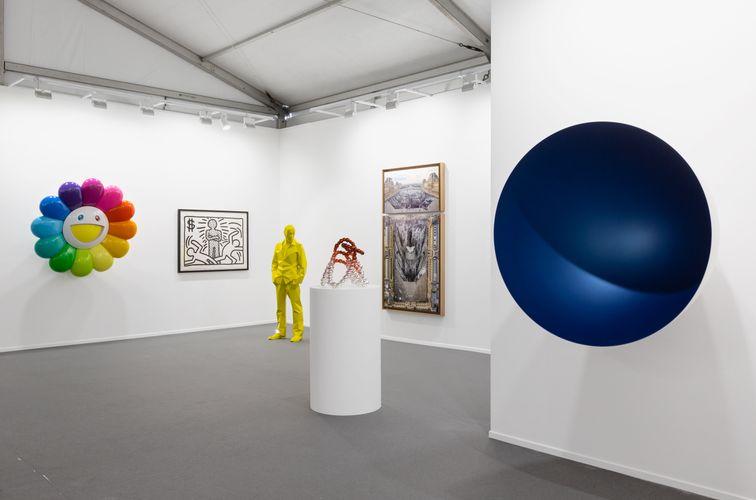 Works by Takashi Murakami, Keith Haring, Xavier Veilhan, Jean-Michel Othoniel, JR, Anish Kapoor. (Photo: Ismail Noor)