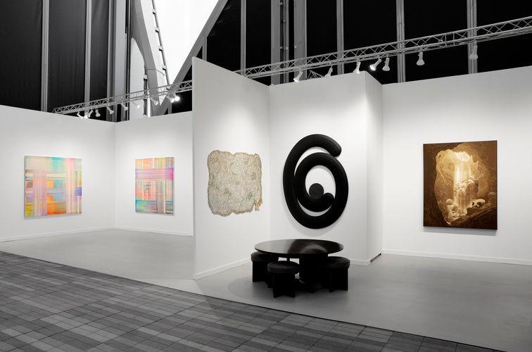Works by Bernard Frize, Kathia St. Hilaire, Josh Sperling and Daniel Arsham. (Photo: Guillaume Ziccarelli)