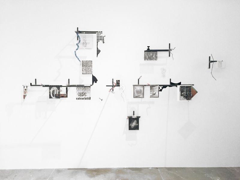 "View of the exhibition"" Intersections (after Lautréamont)"" at CIFO Foundation Miami (USA), 2015  ""Fat truths"", 2015 / Mixed media / 185 x 348 x 51 cm, 72 13/16 x 137 1/16 x 20 1/16 inches"
